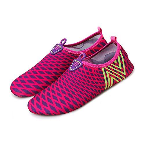 huateng Malla Rayas Masculina Femenina Pareja Moda Deportes Zapatos de Playa Zapatos de natación Ligeros Zapatos Suaves Zapatos de Buceo rosa roja