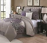 Geneva Home Fashion 9 Piece Amber Comforter Set, King, Plum