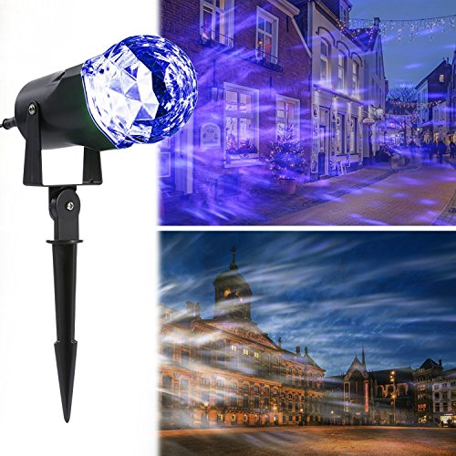 Outdoor Rotating Pub Light - Projection Flame Light, LESHP Waterproof Magical Spotlight Rotating LED Projector Light with Flame Lightings for Indoor Outdoor Christmas Festival Decorations for Home, Garden, Landscape