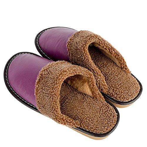 Haisum 8812-w - Zapatillas de estar por casa de piel vacuna para hombre morado