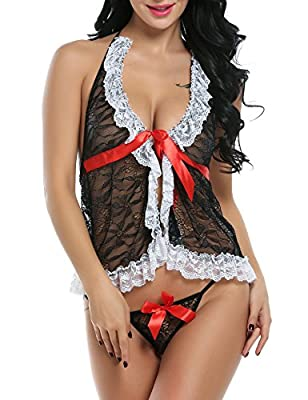 Avidlove Women's Sexy Lingerie Lcae Babydolls 2 Pieces Mesh Chemises and G-string