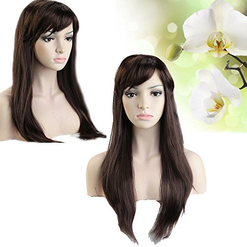 (Long Straight Ombre(Mix Brown Auburn) Synthetic Wig with Oblique Bangs Charming Economic Wigs for Costume Party or Gifts under $10 on)