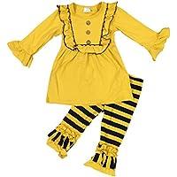 5f29c32d7a37 BluNight Collection Girls 2 Pieces Dress Set Ruffles Dress Stripe Legging Pant  Clothing Set 2-