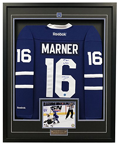 AJ Sports World Mitch Marner Toronto Maple Leafs Signed & Dated 1st NHL Goal 35x43 Framed Jersey