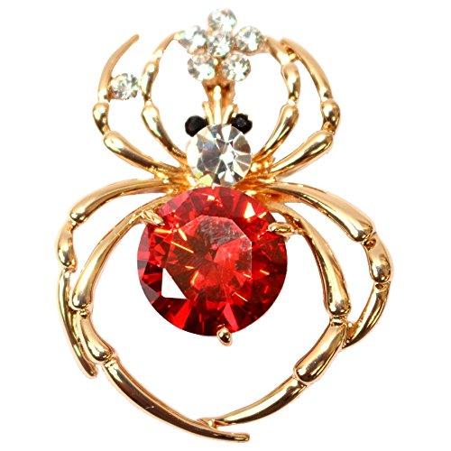 Navachi 18k Gold Plated Red Zircon Crystal Spider Az7230b Brooch Pin