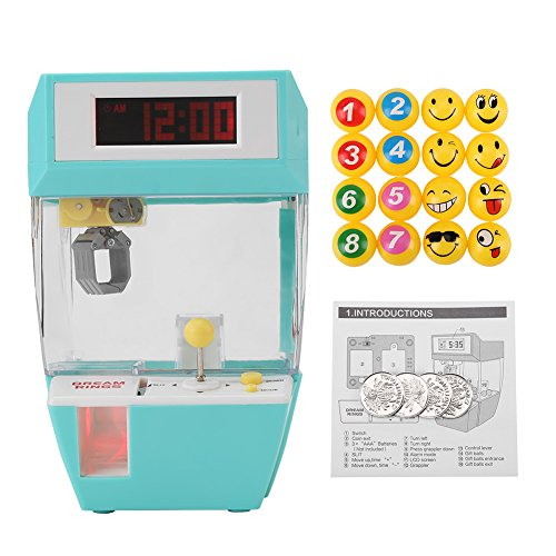 Electronic Crane Grabber Machine Toy Mini Funny Creative 2 in 1 LCD Display Alarm Clock Electronic Claw Toy Kids Children Gifts(Green)