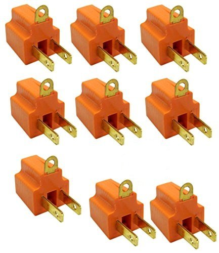 Prong to 3 Prong Grounding Adapter for Wall Outlet Plug – UL Listed 9 Pack of Grounded Converters for Outlets, Appliances, Industrial, Household, Machinery, and Workshops – Orange by HomeCo Design (Image #1)