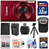 Canon PowerShot Elph 190 IS Wi-Fi Digital Camera (Red) with 32GB Card + Case + Battery & Charger + Flex Tripod + HDMI Cable + Kit