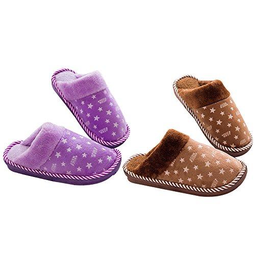 Chaussons chaussures LaxBa au 40 moelleux Chaussons 39 Brown nbsp; chaleureux l'hiver hiver 38 Chaussons 41 étoile Mâle Accueil Femelle L'hiver Modèles antiglisse chaud en Chambre Purple qrBxrn