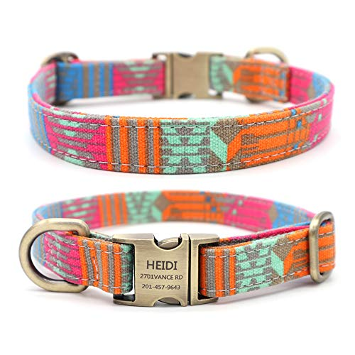 Youyixun Customized Nylon Dog Collar, Personalized Dog Collar Engraved with Name and Phone Number,Adjustable ID Dog Collar with Quick-Release Buckle-(Strips-Pink,S)