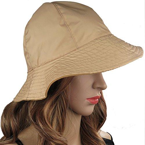 Reversible Rain Hat (Rain Hat Sun Hat 2-in-1 Reversible Cloche Bucket Hat By DEBRA WEITZNER,Beige,One Size)