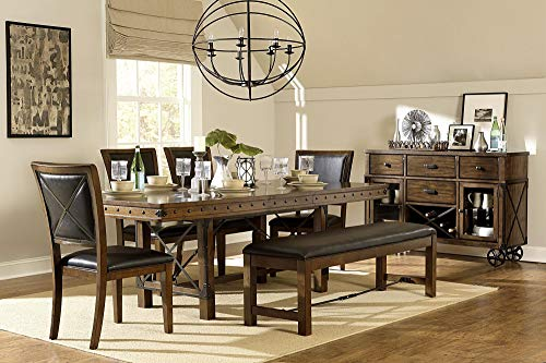 Ulland Industrial Turnbuckle 7PC Dining Set Table, 4 Chair, Bench in Rustic Brown
