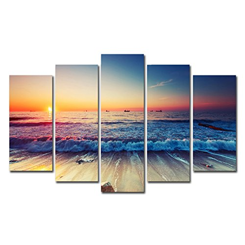 Horgan Art 5 Pieces Unframed Paintings Wall Decor Sunset Ocean Beach Canvas Prints Seascape Picture Artwork for Home Office Decorations (No Frame)