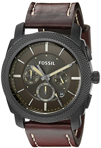 Fossil Men's FS5121 Stainless Steel Watch With Brown Leather Band