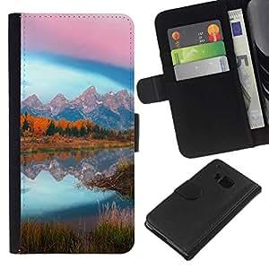 // PHONE CASE GIFT // Moda Estuche Funda de Cuero Billetera Tarjeta de crédito dinero bolsa Cubierta de proteccion Caso HTC One M7 / Mountain Lake Glow /