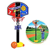 Toddler Kids Mini Basketball Toy, Qiyuxow Adjustable Basketball Hoop Stand Sport Set for Boys Girls Outdoor Indoor Sports Train Player