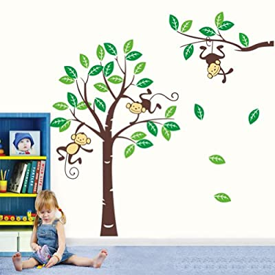 Cartoon Cute Monkeys Big Trees Removable Wall Stickers Home Decor Decals For Children's Room Nursery, Set Of 2 Sheets