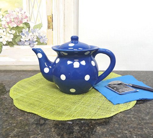 """Ceramic Colorful Teapot with White Polka Dots, 8-1/2""""H, 82117 by ACK (Blue)"""