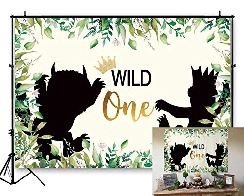 Funnytree 7x5ft Soft Fabric Wild One 1st Birthday Party Backdrop No Wrinkles Durable Animals Themed Photography Background Jungle Safari Baby Boy Photo Booth Banner Decorations