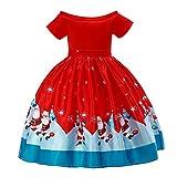 VEKDONE Kids Baby Girl Santa Print Lace Princess Dress Christmas Outfits Clothes