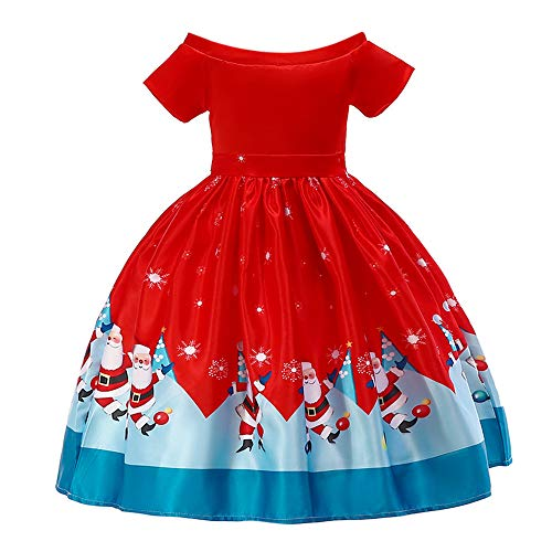 Price comparison product image VEKDONE Kids Baby Girl Santa Print Lace Princess Dress Christmas Outfits Clothes (Red c,  5-6 Years)