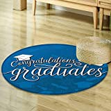 Mikihome Round Area Rug Carpet Graduation Decor College Celebration Ceremony Certificate Diploma Square Academic Cap Blue and White Living Dinning Room and Bedroom Rugs R-24