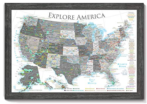 National Parks Push Pin Map - USA Travel Map - Large Framed Push Pin Map - Black and White Edition - Includes 100 map - Map Colonial Us