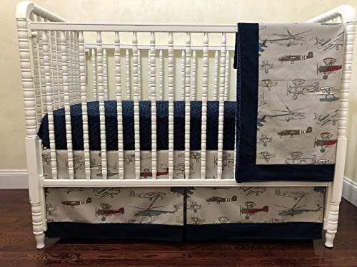 Amazon.com: Vintage Airplane and Navy Crib Set - Boy Baby ...