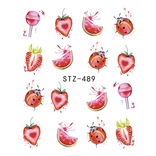 1 Sheet Fruit Lollipop Ladybug Nail Art Stickers Water Transfer Nail Tips Decals Charm Manicure Decoration