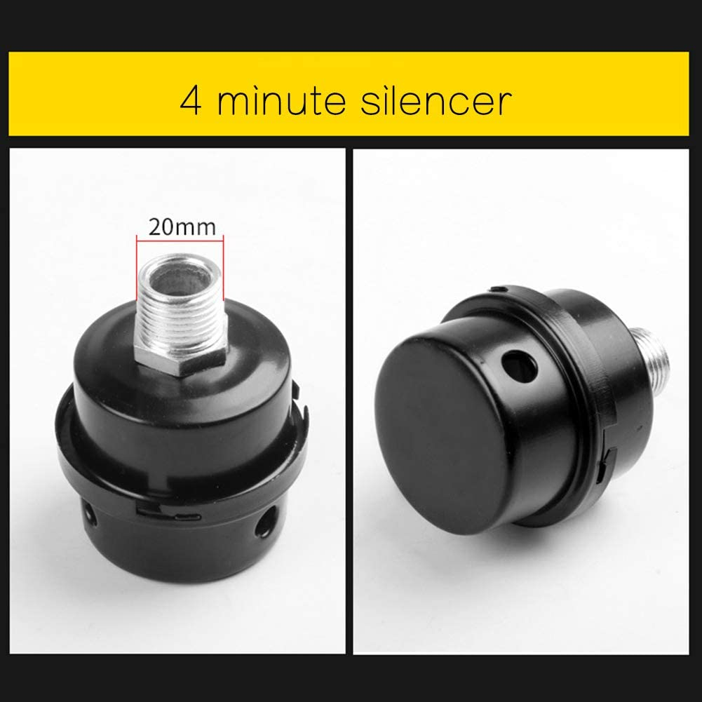 OERTUFU Muffler 1//4 3//8 1//2 Connector Durable Professional Oil-Less Noise Reducer Silencer Metal Air Compressor Accessories Replacement Thread Intake Filter Practical 1 2