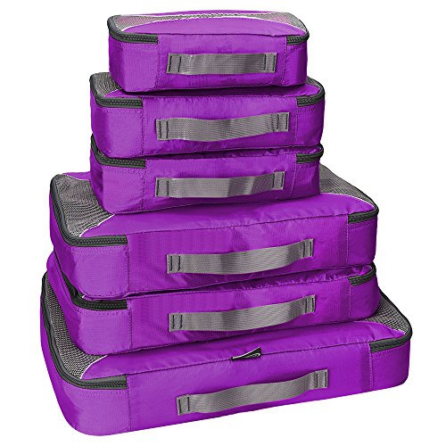 G4Free Packing Cubes 6pcs Set Travel Accessories Organizers Versatile Travel Packing Bags(Purple) (Weather Cube)