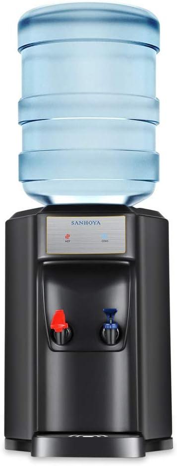 SANHOYA Countertop Water Coolers, Water Dispenser Hold 3 or 5 Gallon Water Bottles, Compressor Cooling, Black