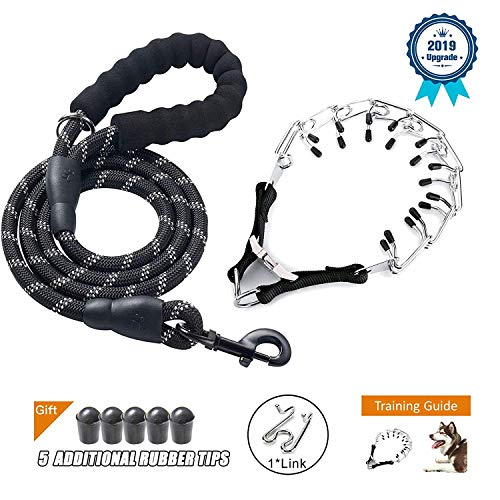 Deyace Dog Prong Collar, Professional Dog Pinch Training Collar, Stainless Steel Choke Pinch Dog Collar with Comfort Tips Heavy Duty Leash, Adjustable Size and Quick Release Buckle (Collar&Leash) ()