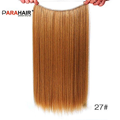 PARAHAIR Secret Halo Hair Extensions Headband Full Head Straight Invisible Wire Hairpieces for Women No Clips Synthetic Hair 22'' Strawberry Blonde(#27)