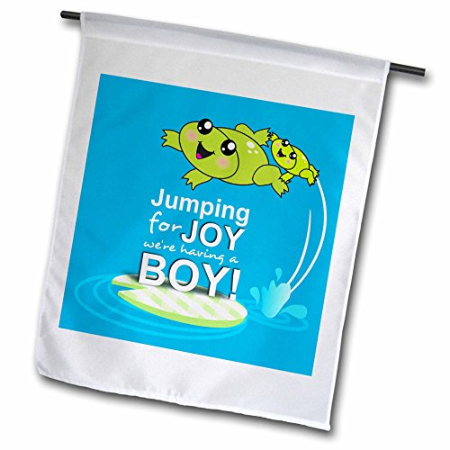 3dRose fl_120313_1 Jumping for Joy Having a Boy-Cute Green Frog Blue Baby Shower its a Boy Kawaii Frogs Announcement Garden Flag, 12 by 18-Inch