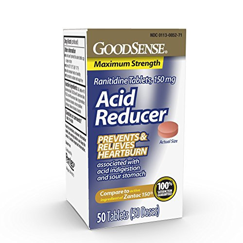 GoodSense Acid Reducer Ranitidine Tablets, 150 mg, Heartburn and Acid Indigestion Relief, 50 Count