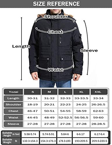 Yozai Men's Ski Jacket Warm Winter Coat Snow Mountain Hooded Parka Jackets