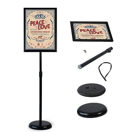 Soporte de pie para póster de pie con soporte para carteles, soporte para bodas, espectáculos, publicidad, etc, negro, A4