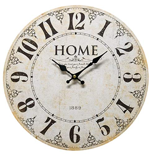 Home - Where you Treat Your Friends Like Family, and Your Family Like Friends. - Round Wood Style Wall Clock for Home - Arabic Numerals, Farmhouse Rustic Home Decor - 13 Inches Diameter (Wall Looking Antique Clock)