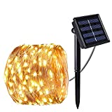 Solar String Lights,LUXJET Copper Starry Fairy Lights, Waterproof Light String Warm White for Patio, Garden, Pathway, Party,Outdoor Decorations (100LED)