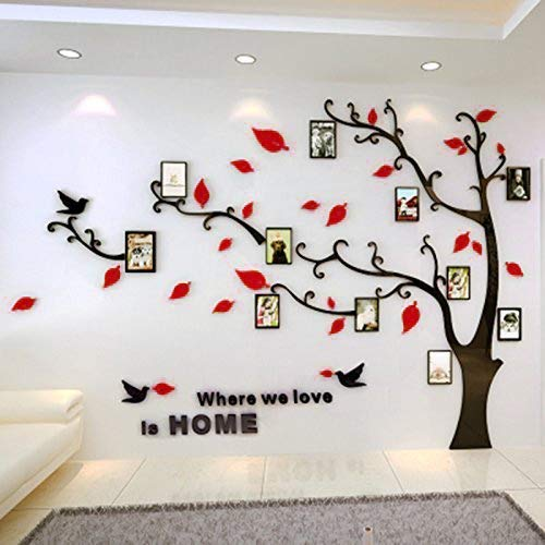 Unitendo 3D Red Leaves Black Branches Wall Stickers Photo Frames FamilyTree Wall Decal Easy to Install &Apply DIY Photo Gallery Frame Decor Sticker Home Art Decor (Red Leaves-Right, L)