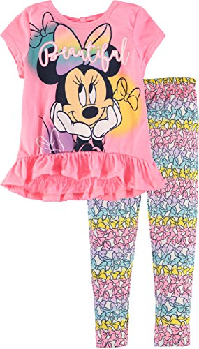 Disney Little Girls' Minnie Mouse Leg Set (Pink Bow, 3T) (Clothing Mouse Minnie)