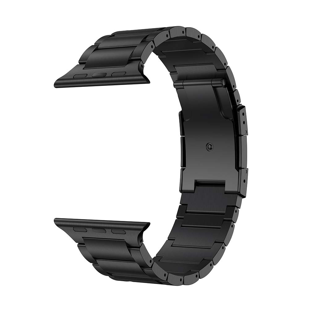 LDFAS Compatible for Apple Watch Band 44mm/42mm, Titanium Metal Watch Strap with Double Button Clasp Compatible for Apple Watch Series 4/3/2/1, Black by LDFAS (Image #2)
