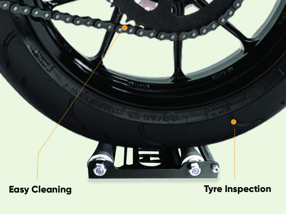 Bikes  485lb dry wt /& Tyre width 180 mm Medium GrandPitstop Motorcycle Wheel Cleaning Roller stand for Tyre cleaning /& chain lubrication GRoller Wheel Spinner Stand