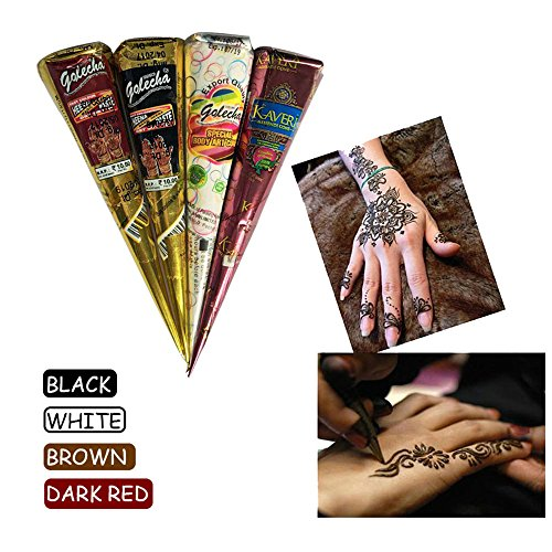 A-parts 4Pcs/set Black Dark Red White Brown Temporary Indian Henna Tattoo Paste Cone for Body Art Drawing with Free Henna Stencil Set