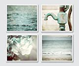 Teal Bathroom Decor Set of 4 5x7 Prints - Beach and Rustic - Discount - Art for Bath in Turquoise, Mint, Aqua