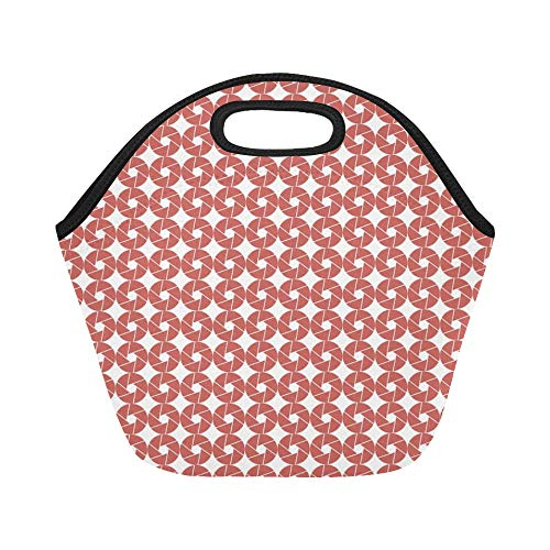 Insulated Neoprene Lunch Bag Scrapbooking Sheet Page Map Red Large Size Reusable Thermal Thick Lunch Tote Bags For Lunch Boxes For Outdoors,work, Office, School