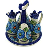 Polish Pottery Seasoning Set 7-inch Bold Blue Poppies UNIKAT