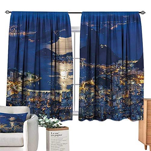 (WinfreyDecor Night Simple Curtain Mountain Sugar Loaf Rio Noise Reducing 63