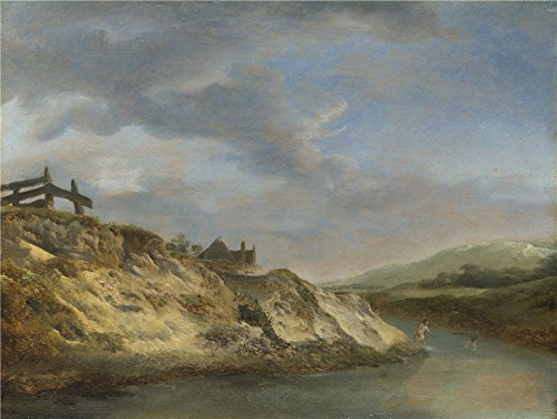 'Philips Wouwermans A Stream In The Dunes With Two Bathers ' Oil Painting, 18 X 24 Inch / 46 X 61 Cm ,printed On Perfect Effect Canvas ,this High Resolution Art Decorative Canvas Prints Is Perfectly Suitalbe For Home Office Decor And Home Decoration And Gifts